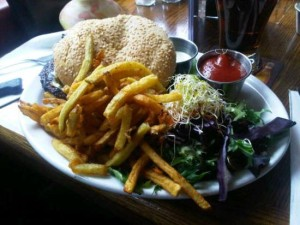 image of a burger from Chez Lucien one of the best, affordable restaurants in the Byward Market Ottawa