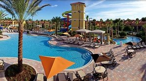 one of the pools and waterslides at Fantasy World Resort in Kissimmee one of the Cheap hotels and places to stay when visiting Orlando, Florida