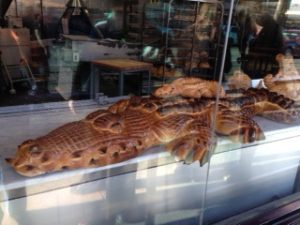 image of a sourdough alligator on display at Boudin Bakery & Cafe one of the free, cheap, fun things to do in San Francisco