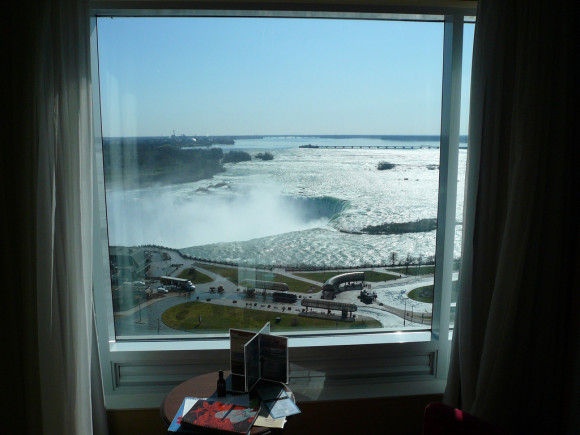image of the view of Niagra Falls from a room in one of the cheap places to stay in Niagara Falls Ontario