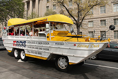 image of a DC Ducks Tour vehicle one of the Cheap, Fun Things to See & Do in Washington DC