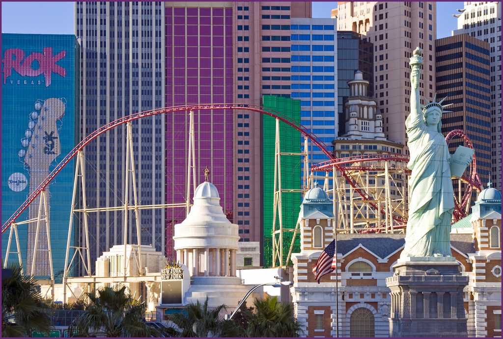 image of the roller coaster at the new york new york hotel one of the Cheap, Fun Things to See & Do in Las Vegas