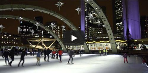 image of skating at nathan phillips sqaure one of the free things to do in toronto
