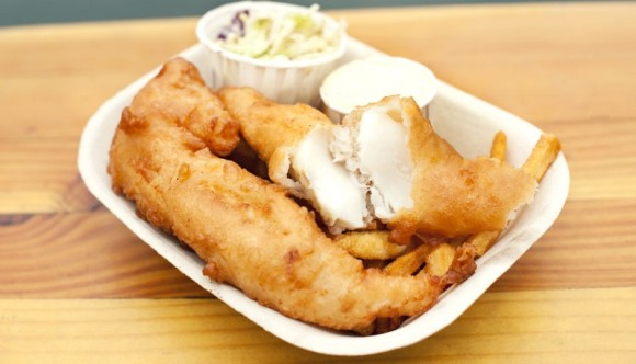 image of fish and chips from red fish blue fish one of the Best Cheap Eats Places & Restaurants in Victoria, BC