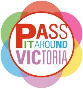 image of the logo for the pass it around victoria pass which allows you to save money on entry to ten Victoria, BC museums, galleries, gardens and heritage sites