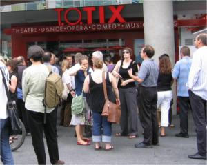 image of the T.O.TIX booth the place to get cheap, discount tickets to toronto theatre shows
