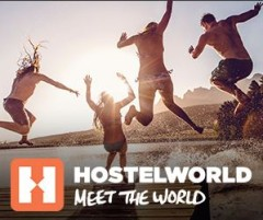 image of the Hostel World logo, one of the ways to find an affordable hostel in Toronto