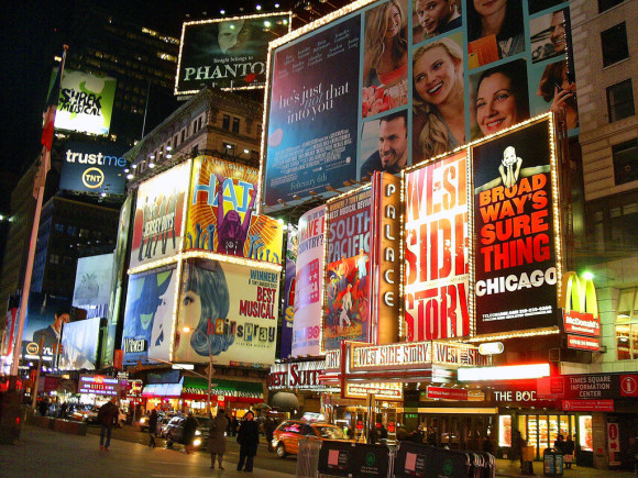 image of billboards advertising broadway shows that are listed on the New York City events calendar