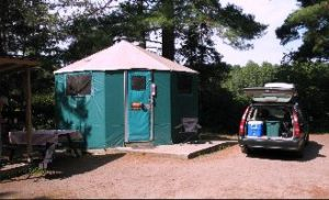 image of a yurt available for rent in Algonquin Provincial Park when you go moose watching and want to stay overnight