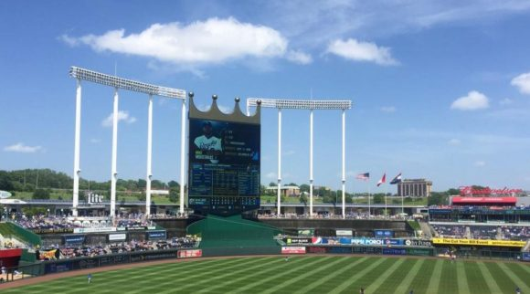 image of Kauffman Stadium in Kansas City where the Royals play the Toronto Blue Jays, their American League baseball rivals