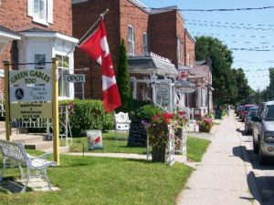 image of the Main Street in Bloomfield, one of the free, cheap, fun things to explore in Prince Edward County, Ontario