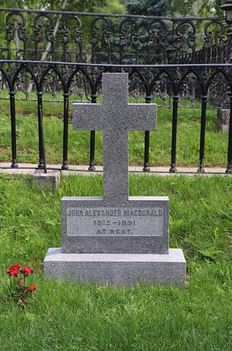image of the gravesite of Canada's first prime minister Sir John A MacDonald one of the cheap, fun, free things to do in Kingston, Ontario