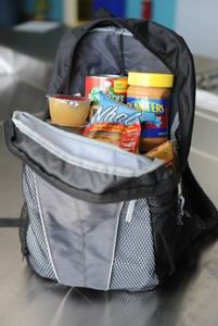 backpack with snacks for a cheap lunch while visiting theme parks in Orlando, Florida