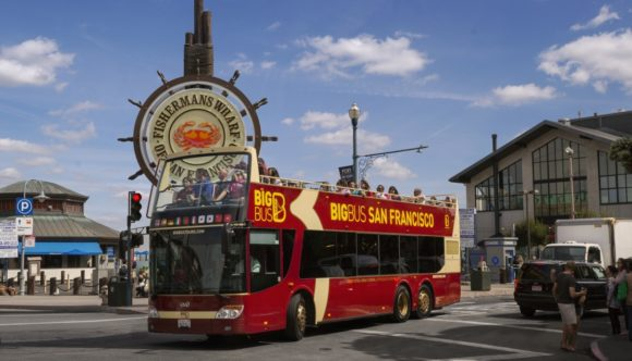 Big Bus Tour San Franscisco tour bus at Fishermans Wharf
