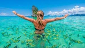 women enjoying the waters at a cheap winter getaway down south